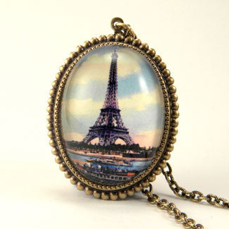 Eiffel Tower April In Paris Pendant Necklace