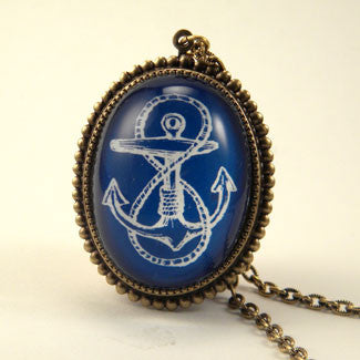 Anchors Away Blue & Red Classic Anchor Illustration Pendant Necklace