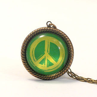 Peace Rally Paint Brushed Colored Peace Symbol Pendant Necklace