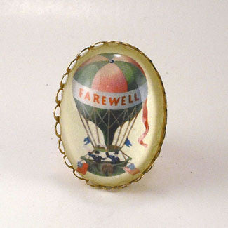 Farewell Hot Air Balloon Vintage Illustration Cocktail Ring