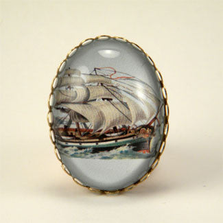 Smooth Sailing Clipper Ship Cocktail Ring