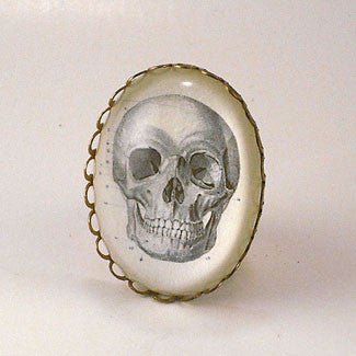 To Be Or Not To Be Skull Vintage Anatomical Engraving Cocktail Ring