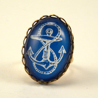 Anchors Away Blue & Red Classic Anchor Illustration Cocktail Ring