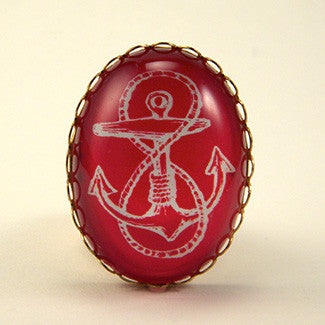 Anchors Away Blue & Red Classic Anchor Illustration Jewelry