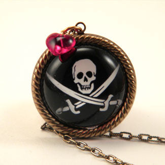 Jolly Roger Skull and Swords Pirate Pendant Necklace