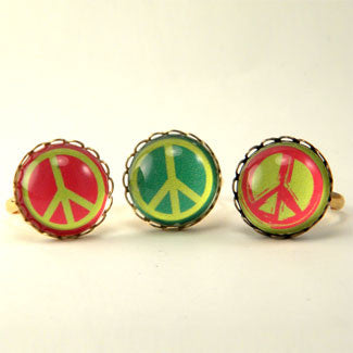 Peace Rally Paint Brushed Colored Peace Symbol Petite Rings