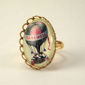 Farewell Hot Air Balloon Vintage Illustration Petite Ring