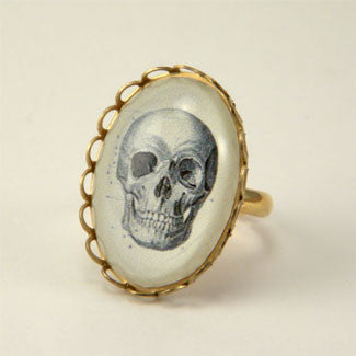 To Be Or Not To Be Skull Vintage Anatomical Engraving Petite Ring