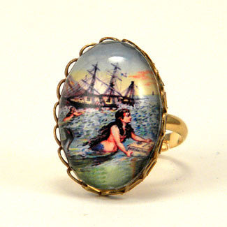 Over The Waves Mermaid Nautical Image Petite Ring