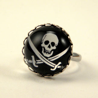 Jolly Roger Skull and Swords Pirate Petite Silver Ring