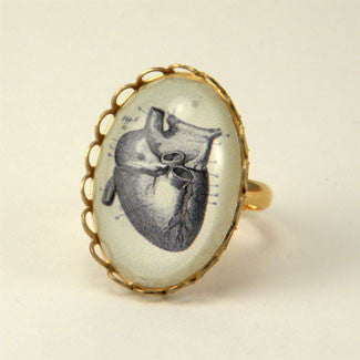 If I Only Had A Heart - Anatomical Heart Engraving Petite Ring