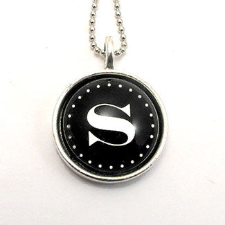 Monogram - Small Sterling Silver Plate Black Background Necklace