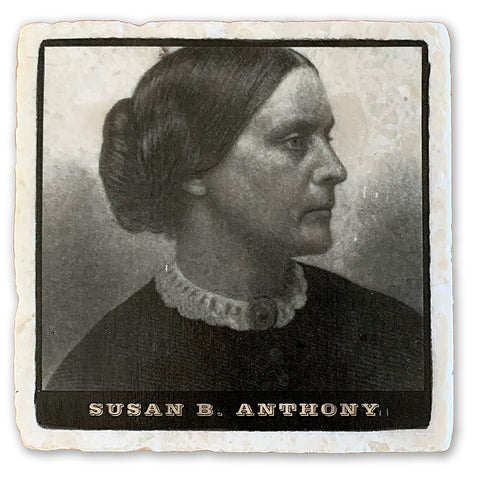 "Susan B. Anthony, Champion of Women's Voting Rights on 4""x4"" Tumbled Marble Tile"