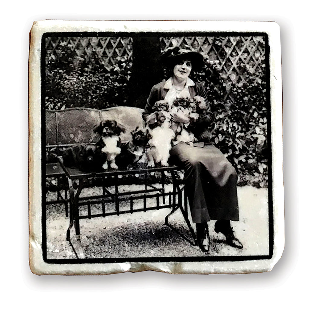 "My Best Buddies - Vintage Dog Image on 4""x4"" Marble Tile"