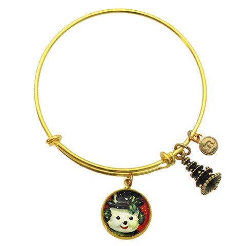 Big Snowman Winter Holiday Charm Bracelet