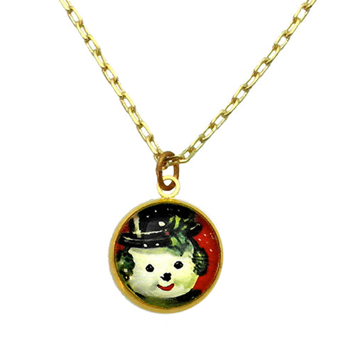 Big Snowman Winter Holiday Jewelry in Necklace Small Necklace