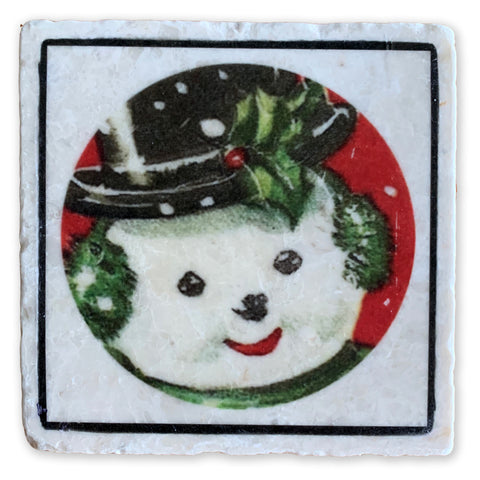 "The Big Smiling Snowman on 4""x4"" Tumbled Marble Tile"