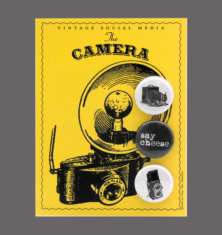 The Camera - Vintage Social Media Button Cards Sold in a 5 pack