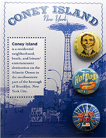 Coney Island Button Card - Sold in a 5 pack