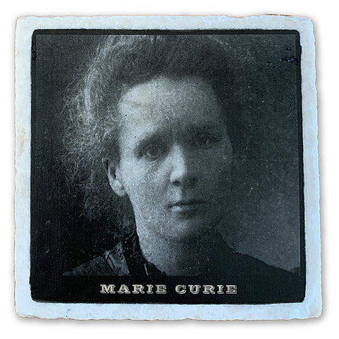 "Marie Curie, The First Woman Nobel Prize Winner  on 4""x4"" Tumbled Marble Tile"