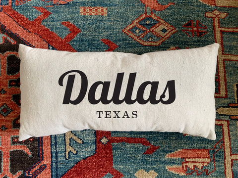 Dallas, TX Handmade Canvas Pillow