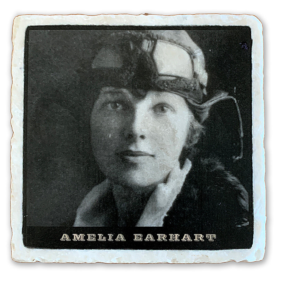 "Amelia Earhart, Famed Aviator  on 4""x4"" Tumbled Marble Tile"