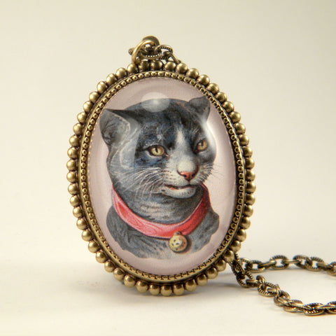 Fancy Feline Deluxe Colorful Classic Cat Illustration Pendant Necklace