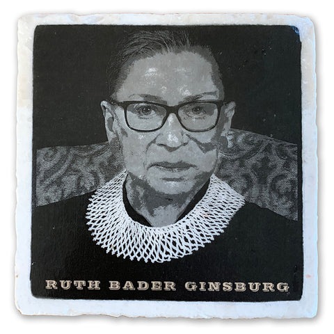 "Ruth Bader Ginsburg, Notorious RBG  on 4""x4"" Tumbled Marble Tile"