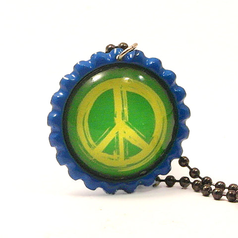 Peace Sign- Bottle Cap necklace