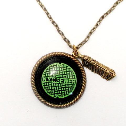 Green New York City Manhole Cover with Flat Iron Building Charm Necklace