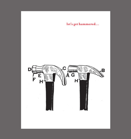 Let's Get Hammered - Party, Special Relationship, Friendship Card, Special Occasion Card, Sold In a 5 Pack