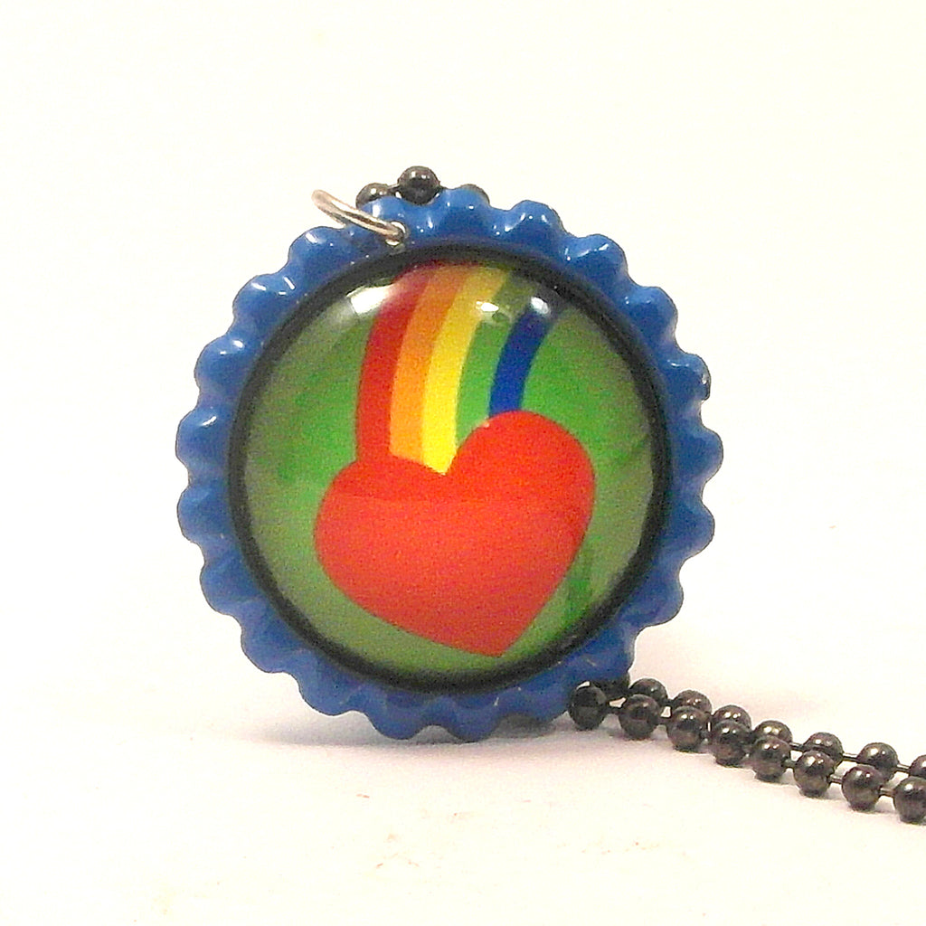 Rainbow Heart - Bottle Cap necklace