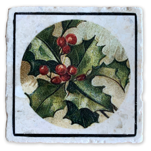 "Deck The Halls Holly on 4""x4"" Tumbled Marble Tile"