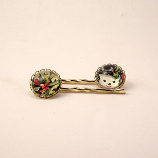 Big Snowman Winter Holiday Jewelry Hairpin Set