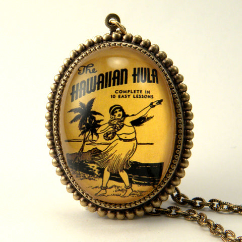 Hula Lessons - Vintage Hawaiian Illustration Pendant Necklace