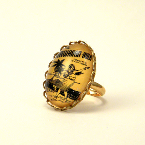 Hula Lessons - Vintage Hawaiian Illustration Petite Ring