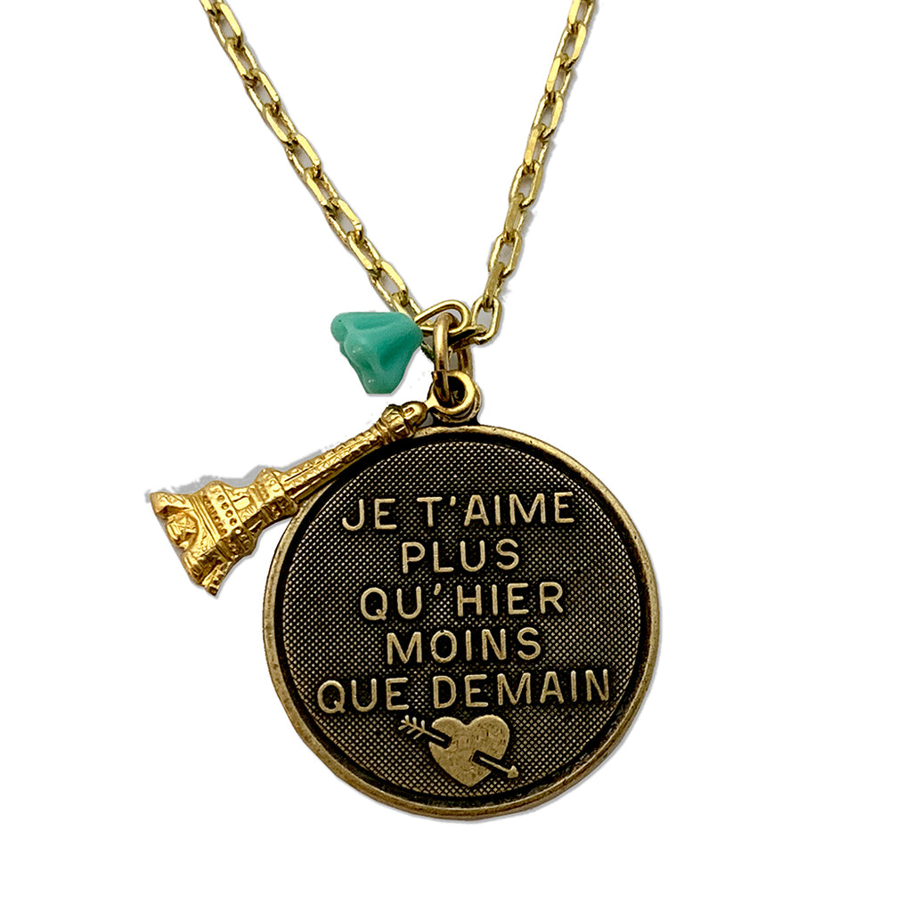 """Je T' Aimi"" I Love You More Than Yesterday Charm Necklace"