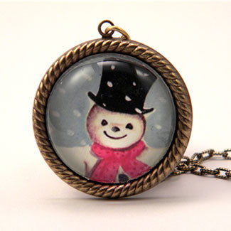 Jolly Snowman - A Winter Holiday Jewelry Set in Necklaces and Charm Necklace