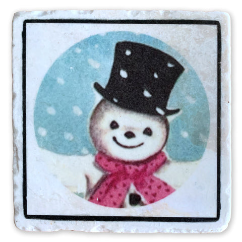 "Jolly Snowman on 4""x4"" Tumbled Marble Tile"