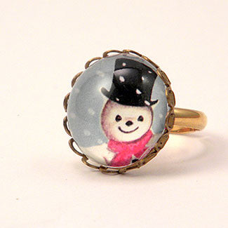 Jolly Snowman - A Winter Holiday Petite Ring