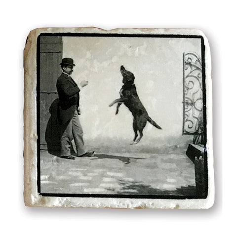 "A Good Trick - Vintage Dog Image on 4""x4"" Marble Tile"