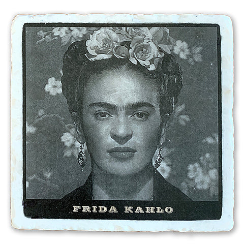 "Frida Kahlo, Artist on 4""x4"" Tumbled Marble Tile"