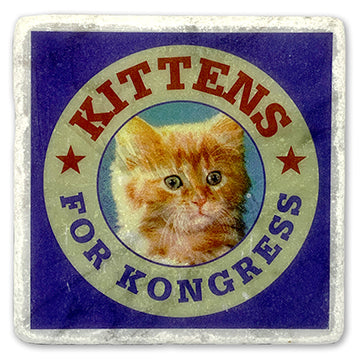 "Kittens For Kongress on 4""x4"" Marble Tile"