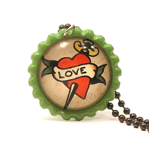 Love Dagger Tattoo Art- Bottle Cap necklace