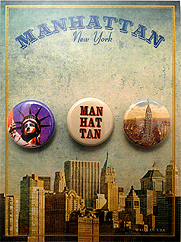 Manhattan New York Button Card - Sold in a 5 pack