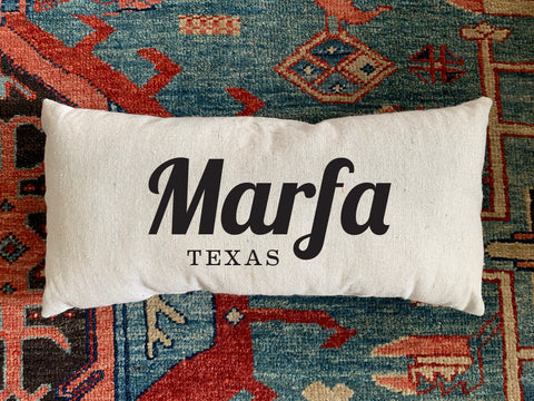 Marfa, TX Handmade Canvas Pillow