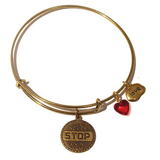 I'll Never Stop Loving You Medallion with Love Charm and Red Heart Bead Bracelet