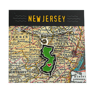 New Jersey State Enamel Pendant Necklace