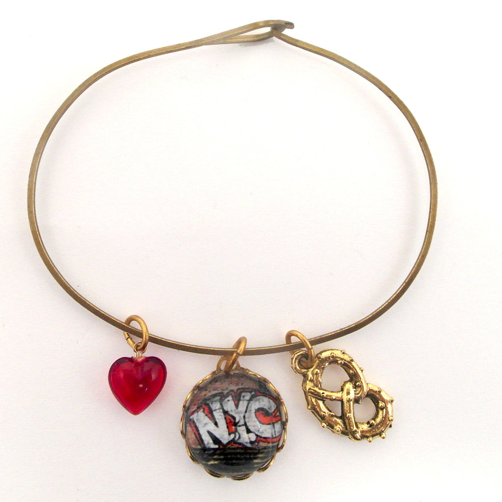 New York City - NYC Graffiti and Pretzel Charm Bracelet or Necklace