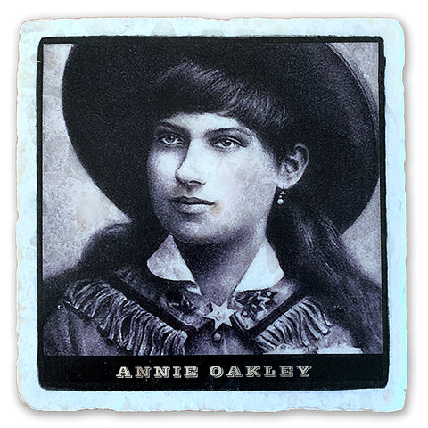 "Annie Oakley, Little Sure Shot on 4""x4"" Tumbled Marble Tile"